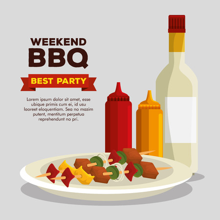 sausages preparation grill and bbq sauces vector illustration Illustration