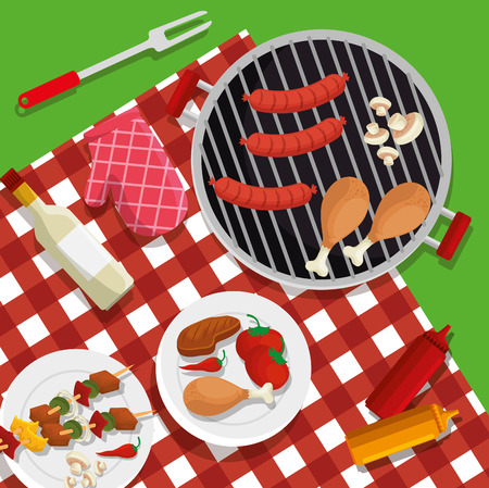 sausages with thighs and mushroom bbq preparation vector illustration