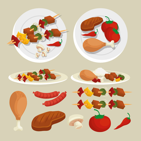 set sausages with potatoes and meat grill preparation vector illustration Archivio Fotografico - 127642078