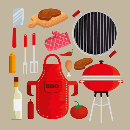 set meat with thighs grill to sauces nutrition vector illustration