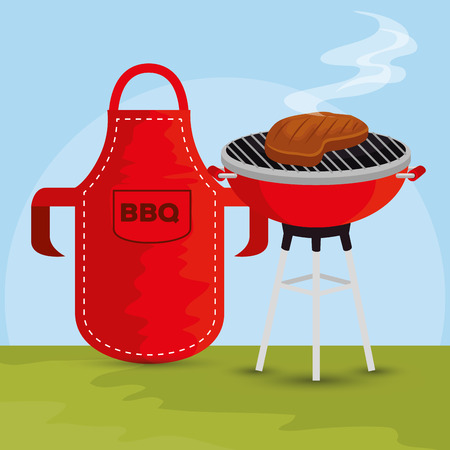 meat grill with bbq preparation and apron vector illustration