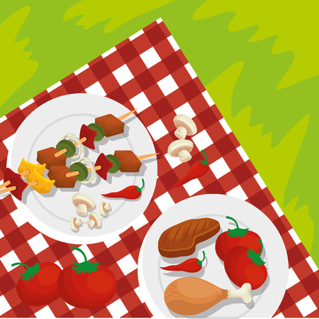 sausages with meat and potatoes grill preparation vector illustration Archivio Fotografico - 127642080
