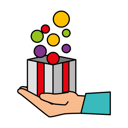 hand lifting box carton with balls vector illustration design