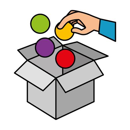 hand insert ball in box carton vector illustration design Reklamní fotografie - 127642087