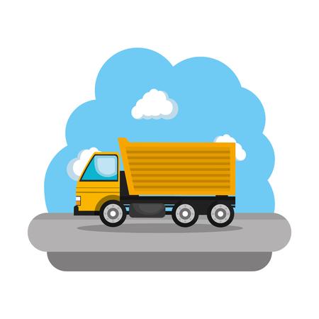 construction truck vehicle icon vector illustration design