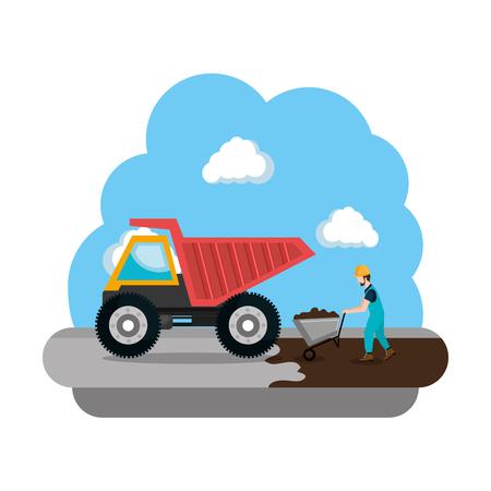 construction dump truck vehicle icon vector illustration design