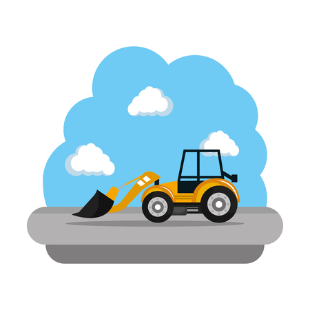 construction bulldozer vehicle icon vector illustration design