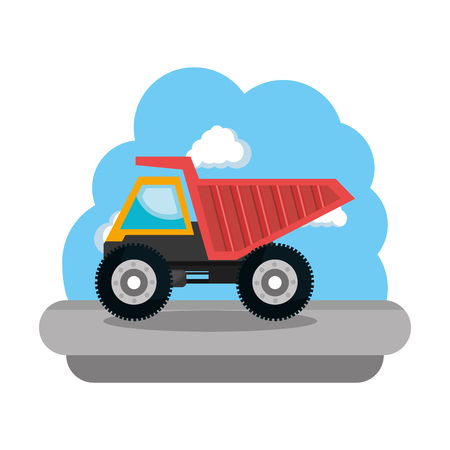 construction dump truck vehicle icon vector illustration design