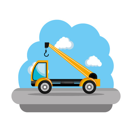 construction crane truck vehicle icon vector illustration design  イラスト・ベクター素材