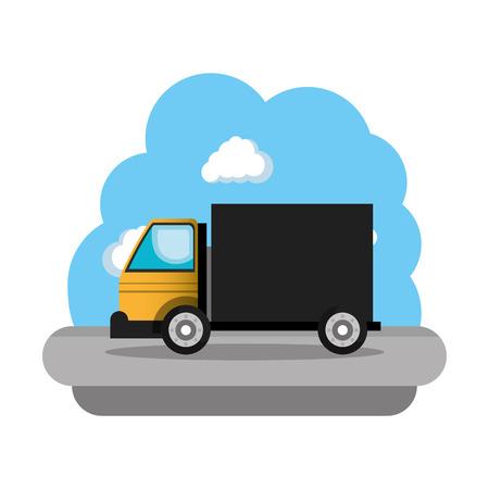 Camion de construction véhicule icône vector illustration design Vecteurs