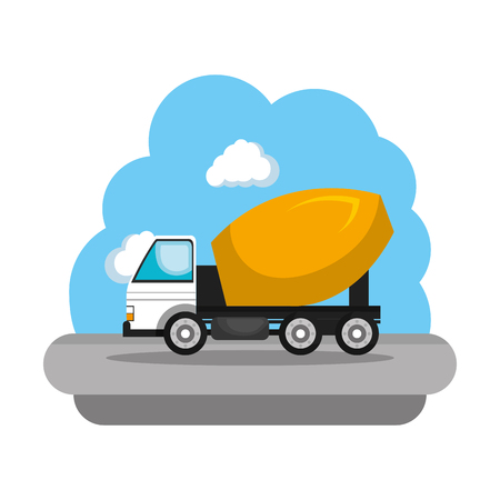 construction concrete mixer vehicle icon vector illustration design  イラスト・ベクター素材
