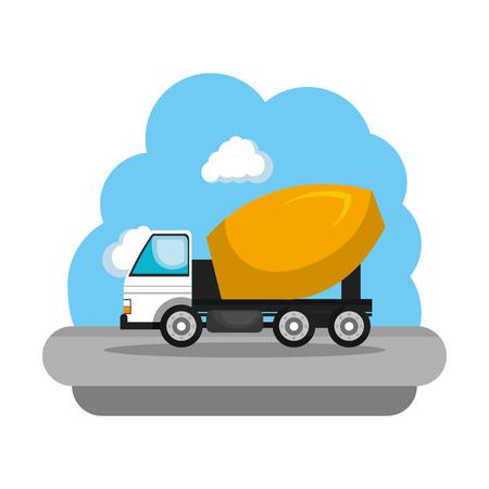 construction concrete mixer vehicle icon vector illustration design Illustration