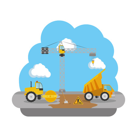 construction steamroller and dump truck vehicles vector illustration