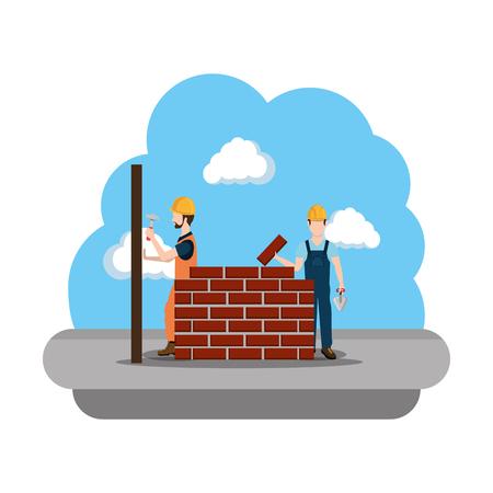 builders construction working scene vector illustration design