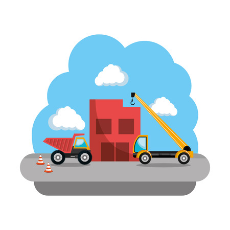 construction dump and crane trucks vehicles vector illustration design