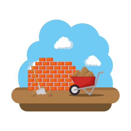 construction wall with wheelbarrow vector illustration design Vettoriali