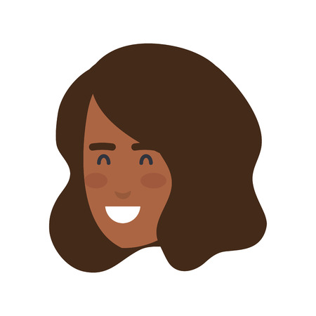 beautiful and young black woman head vector illustration design