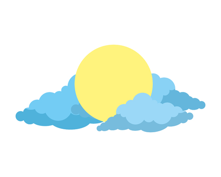 sun with clouds icon vector illustration design