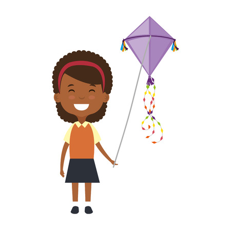 beautiful little girl black playing with kite character vector illustration Illustration