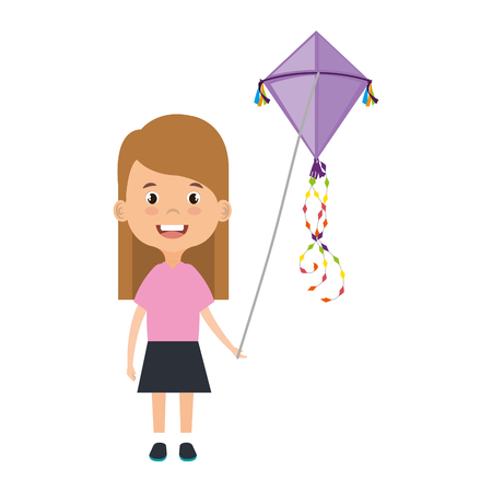 beautiful little girl playing with kite character vector illustration design