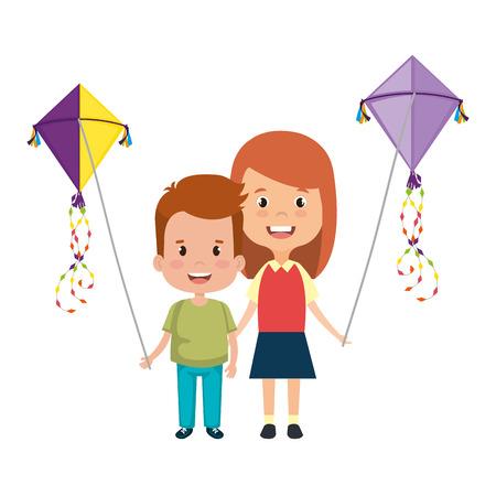 Couple d'enfants avec cerf-volant vector illustration design