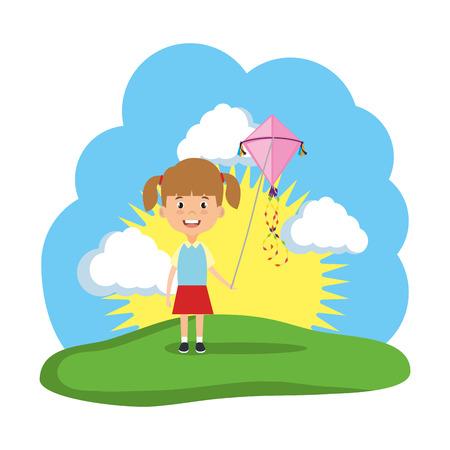 little girl flying kite in the field vector illustration design Stock Illustratie