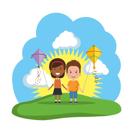 Kinderpaare mit Drachenfliegen im Feldvektorillustrationsdesign