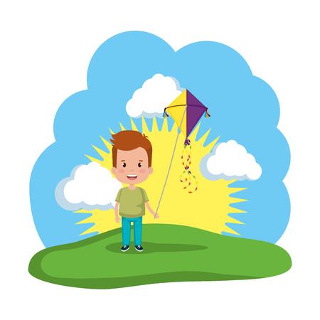little boy flying kite in the field vector illustration design