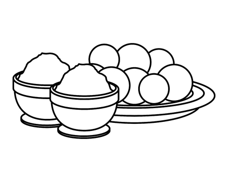 dish with Halwas of sugar and sesame seeds vector illustration design