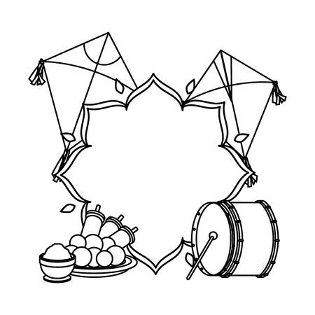happy lohri celebration icons vector illustration design Stock Vector - 127643193