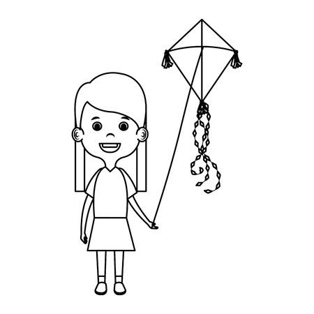 Niña volando cometa, diseño de ilustraciones vectoriales