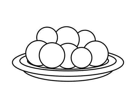 Plato con Halwas de azúcar, diseño de ilustraciones vectoriales