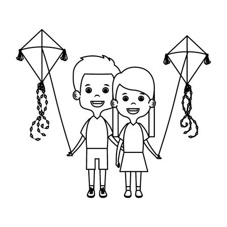 Kinderpaare mit Drachenfliegenvektorillustrationsdesign Vektorgrafik