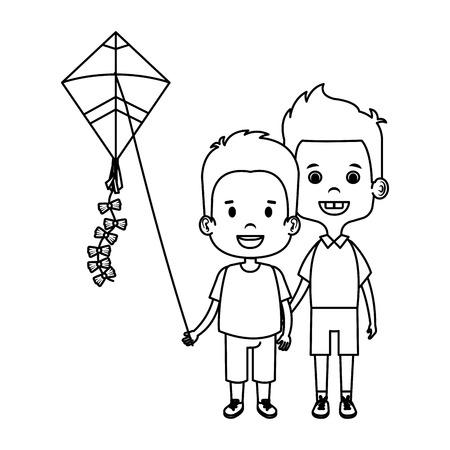 kids boys with kite flying vector illustration design