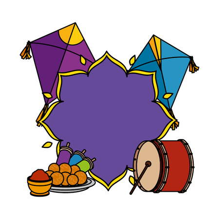 happy lohri celebration icons vector illustration design