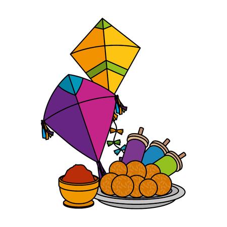 happy lohri celebration icons vector illustration design