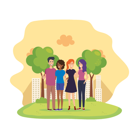 group of people in the field characters vector illustration design