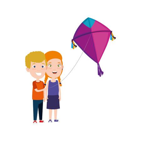 kids couple with kite flying vector illustration design