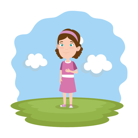 beautiful little girl playing on the park vector illustration design 일러스트