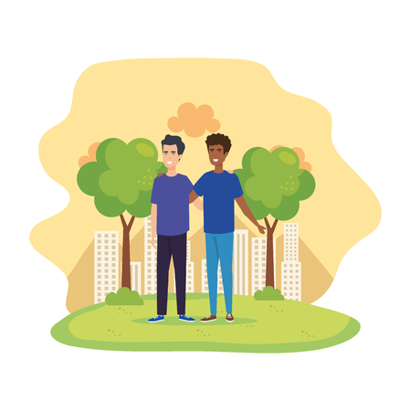 young and casual men in the park vector illustration design