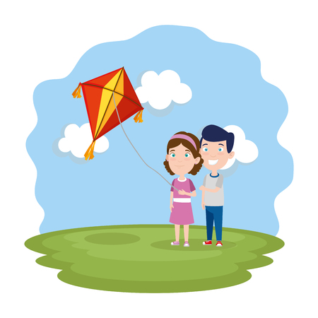 kids couple with kite flying in the field vector illustration design Stock Illustratie