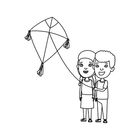 kids couple with kite flying vector illustration design