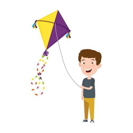 kleiner Junge, der Drachenvektorillustrationsdesign fliegt