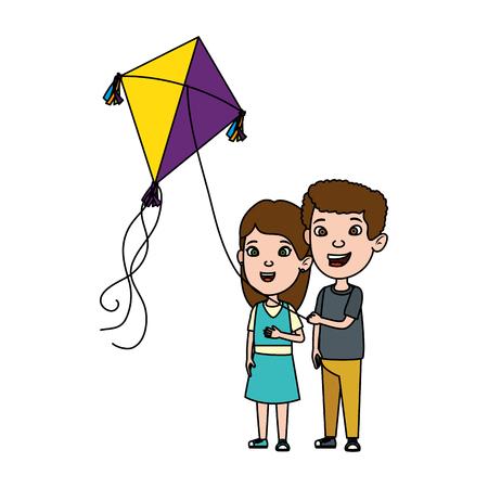 Pareja de niños con diseño de ilustración de vector de cometa volando