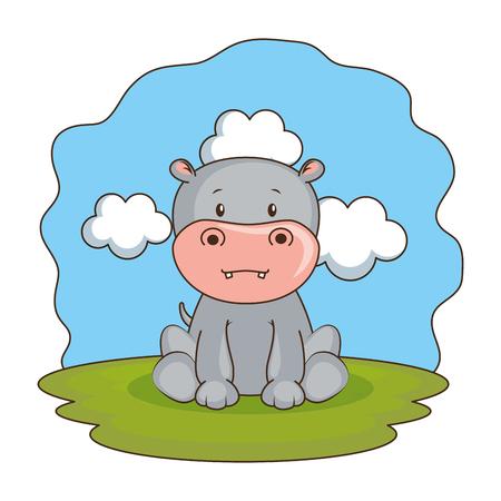 cute hippo in the camp vector illustration design 일러스트