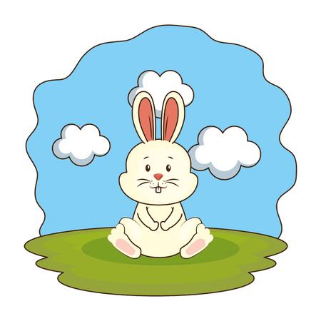 cute rabbit in the camp vector illustration design