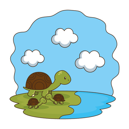 cute turtles family in the camp vector illustration design