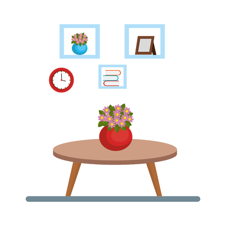 house place with table and plant vector illustration design