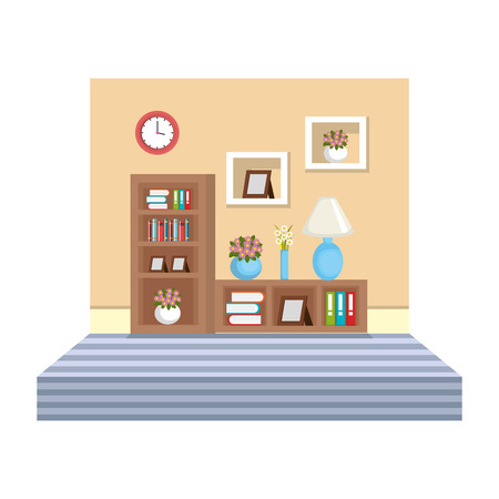 library room with shelving place vector illustration design