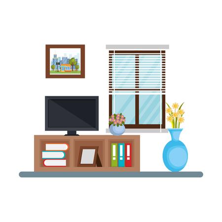 tv room place house vector illustration design